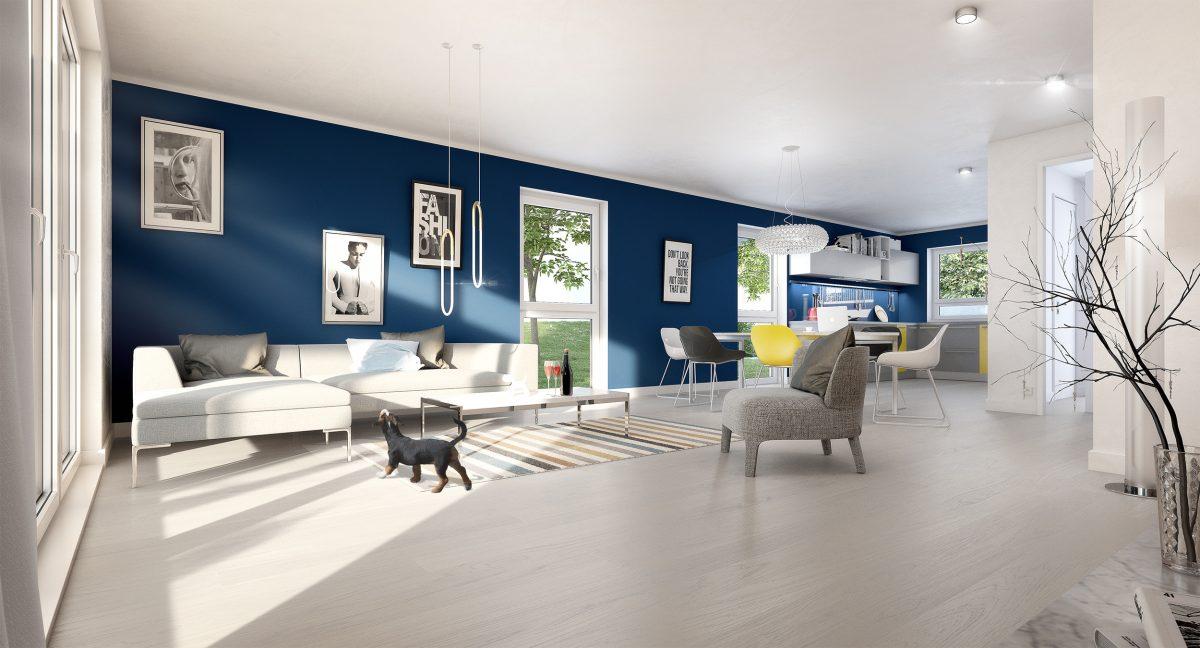Innen Visualisierung Wohnzimmer/Küche | plan b Agentur